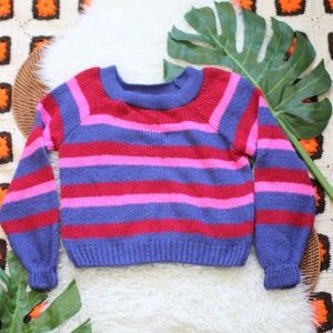 ASOS 70's Striped Knit Sweater Pink Blue Red 6